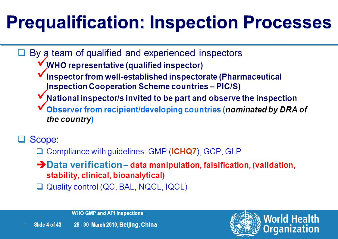 Prequalification: Inspection Processes