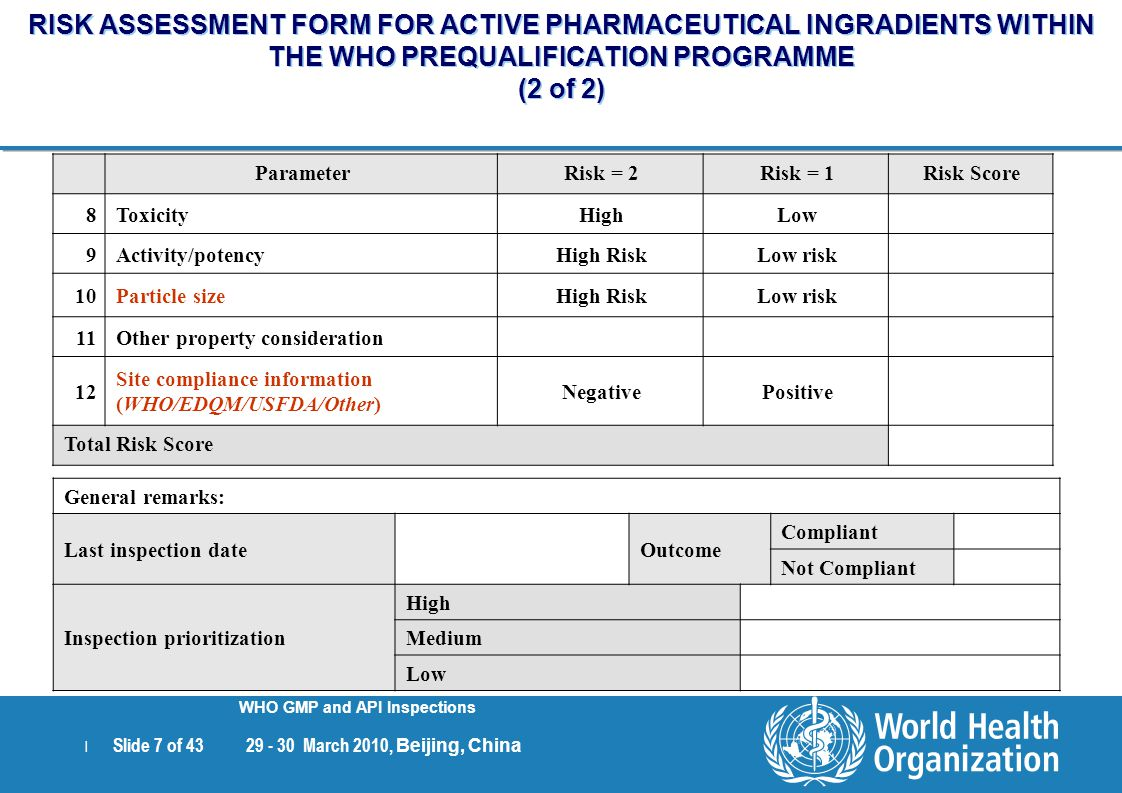 RISK ASSESSMENT FORM FOR ACTIVE PHARMACEUTICAL INGRADIENTS WITHIN THE WHO PREQUALIFICATION PROGRAMME (2 of 2)