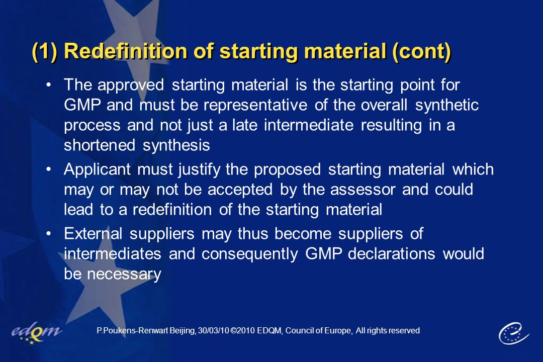 (1) Redefinition of starting material (cont)