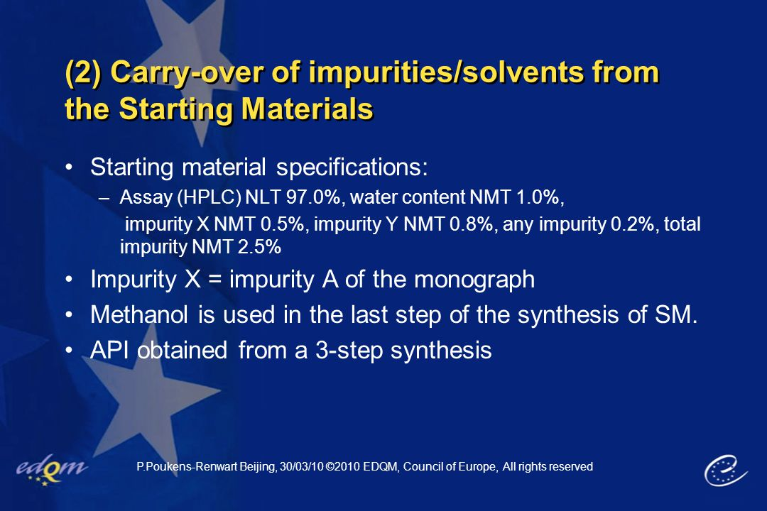 (2) Carry-over of impurities/solvents from the Starting Materials