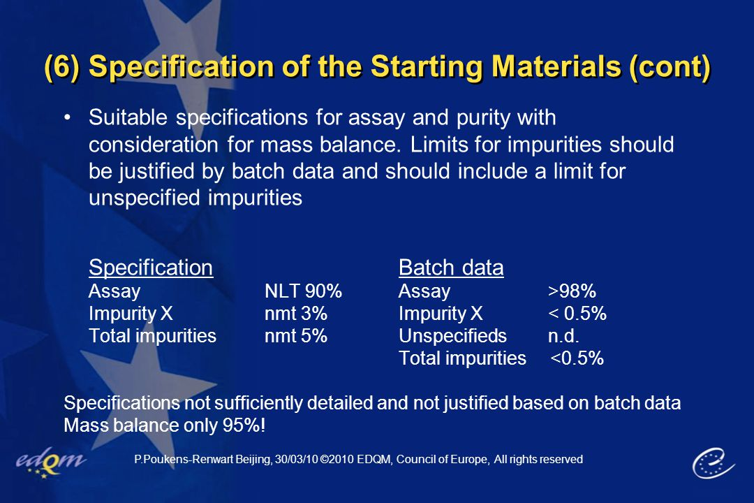 (6) Specification of the Starting Materials (cont)