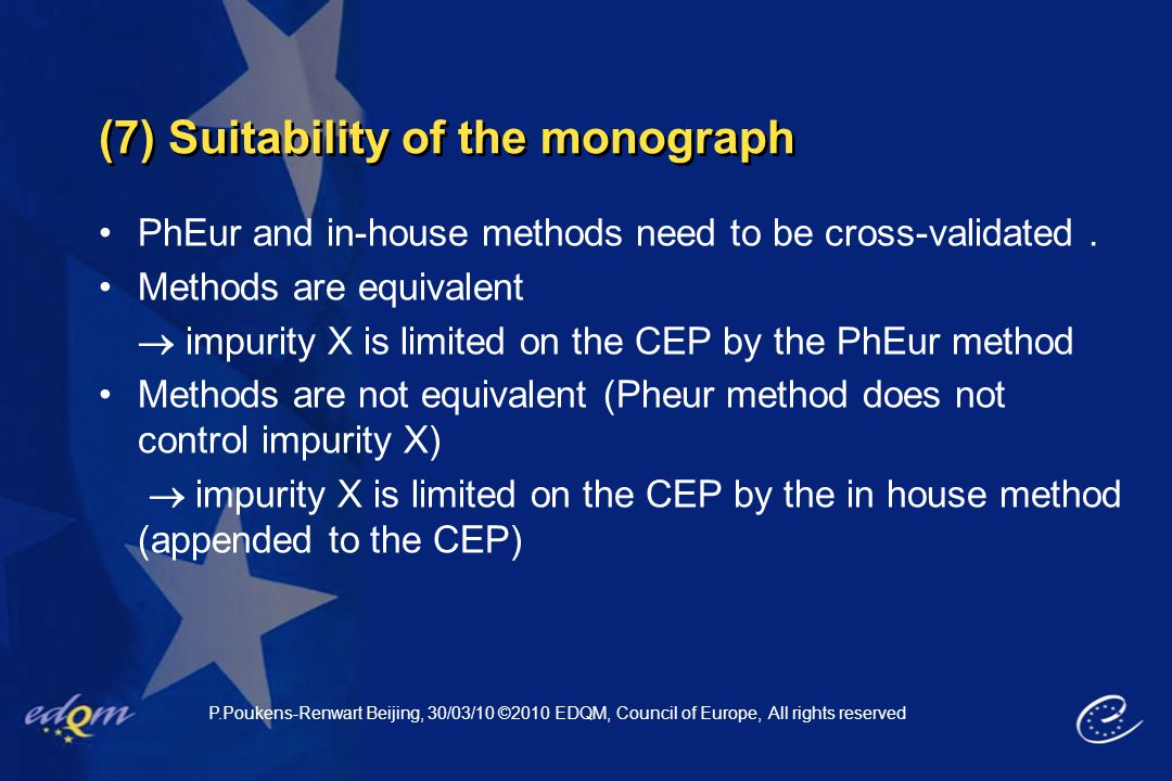 (7) Suitability of the monograph