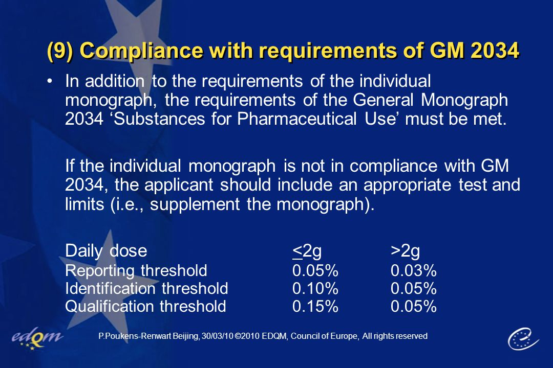(9) Compliance with requirements of GM 2034
