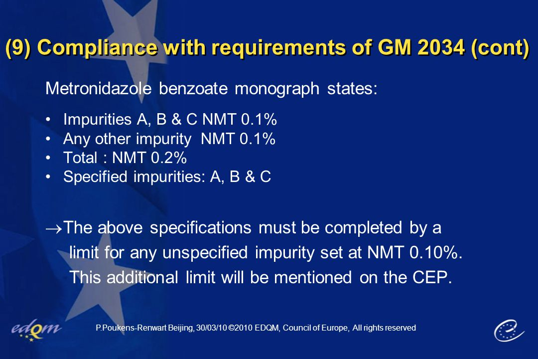 (9) Compliance with requirements of GM 2034 (cont)