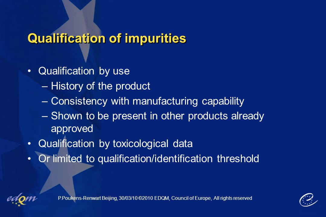 Qualification of impurities
