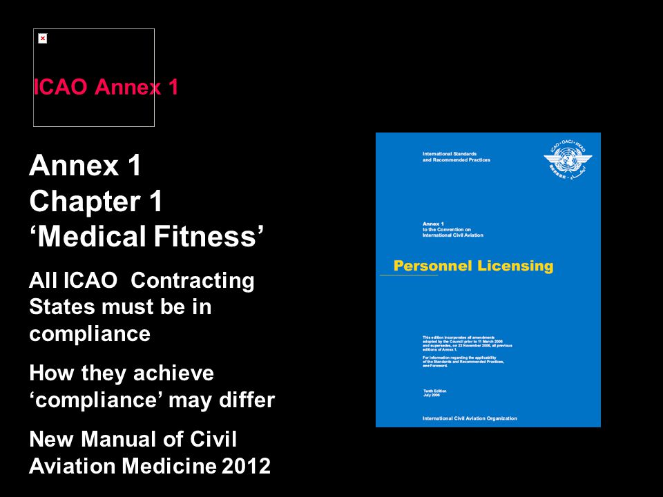 Annex 1 Chapter 1 'Medical Fitness' ICAO Annex 1