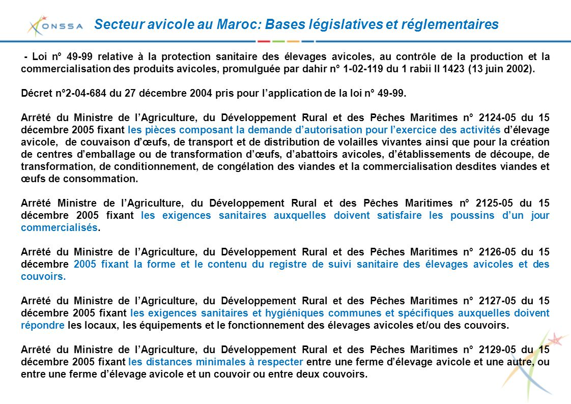 Secteur avicole au Maroc: Bases législatives et réglementaires