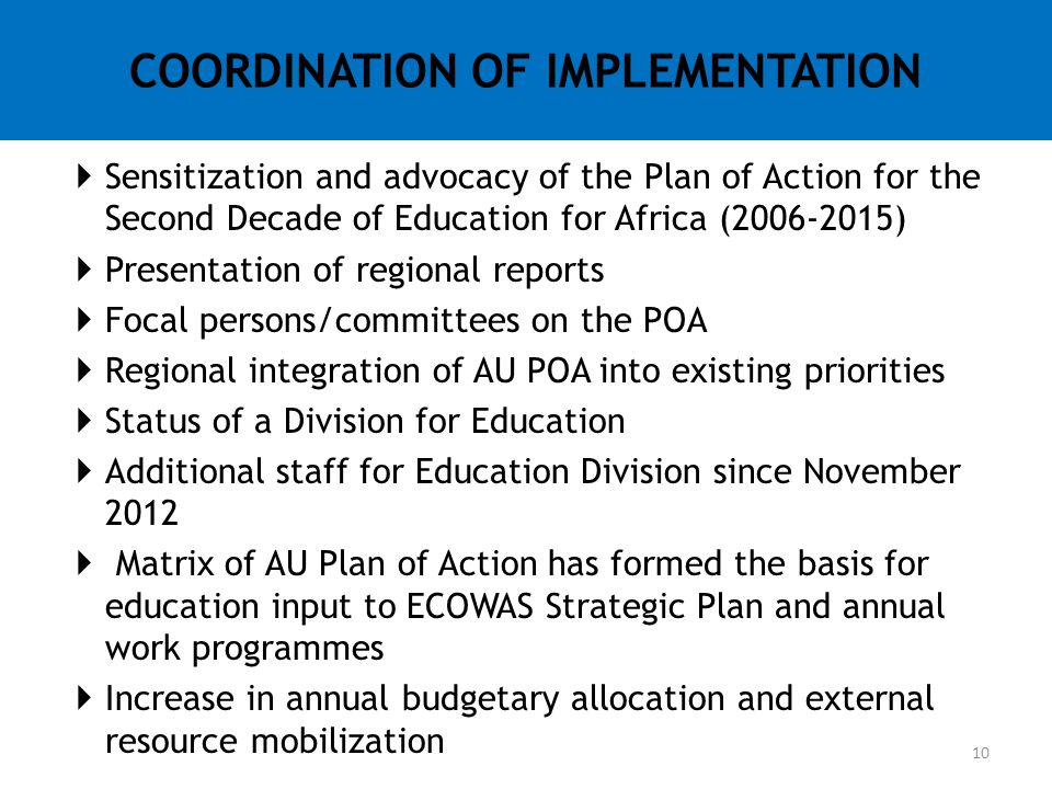 COORDINATION OF IMPLEMENTATION