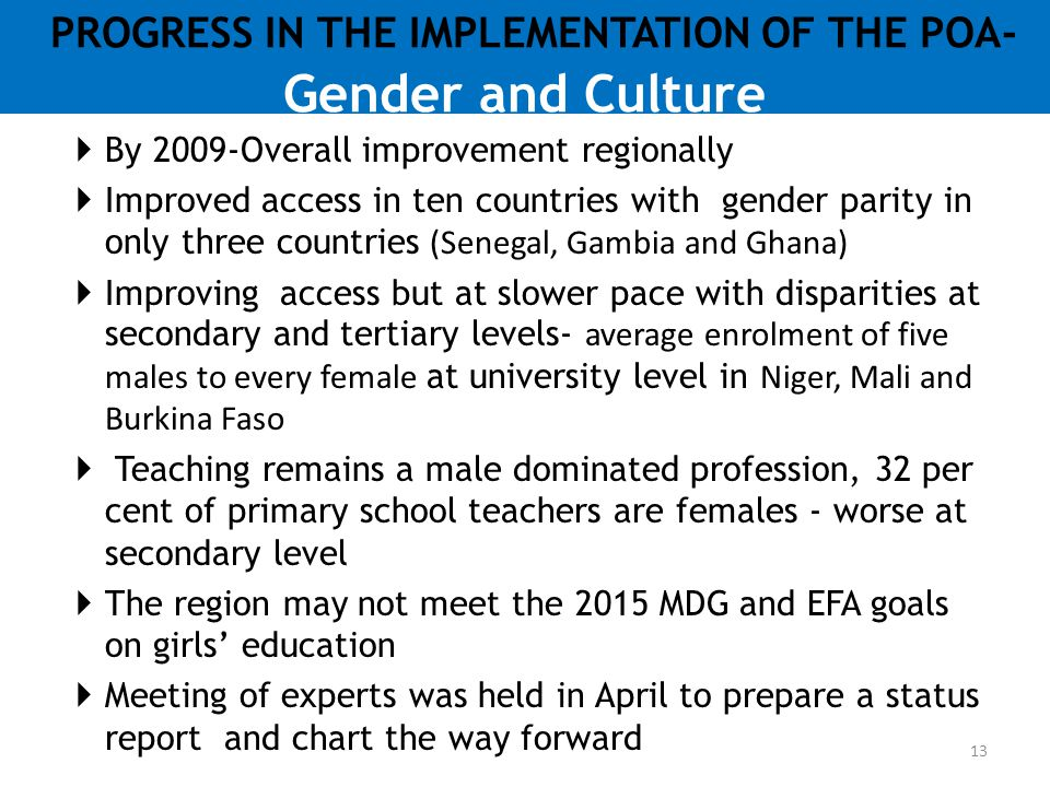 PROGRESS IN THE IMPLEMENTATION OF THE POA- Gender and Culture