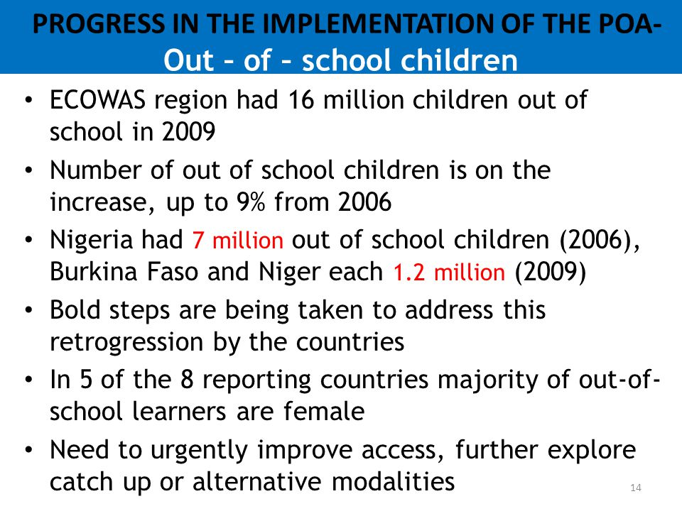 PROGRESS IN THE IMPLEMENTATION OF THE POA- Out – of – school children