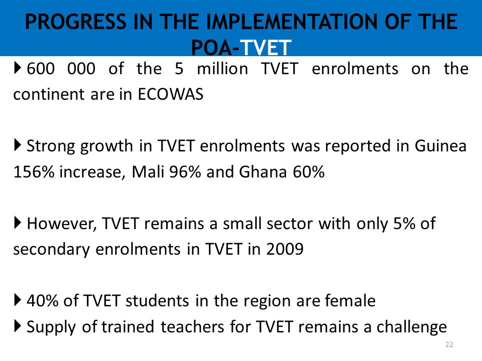 PROGRESS IN THE IMPLEMENTATION OF THE POA-TVET