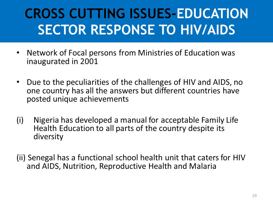 CROSS CUTTING ISSUES-EDUCATION SECTOR RESPONSE TO HIV/AIDS