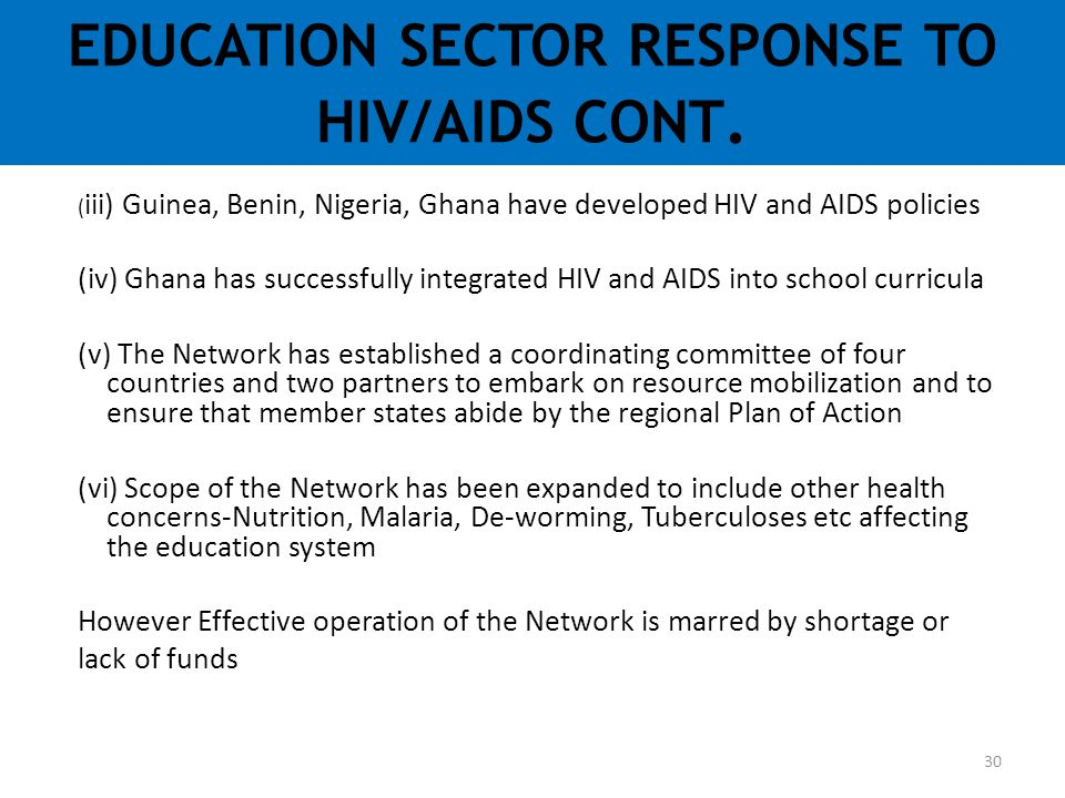 EDUCATION SECTOR RESPONSE TO HIV/AIDS CONT.