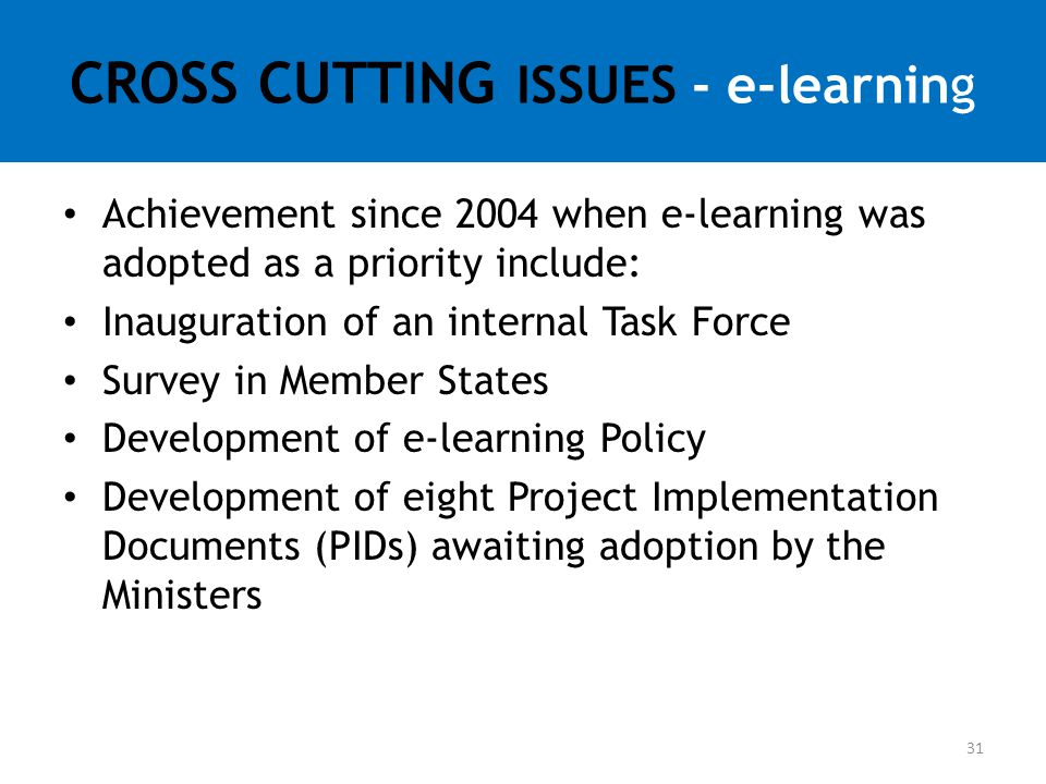 CROSS CUTTING ISSUES - e-learning