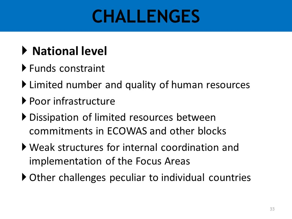 CHALLENGES National level Funds constraint