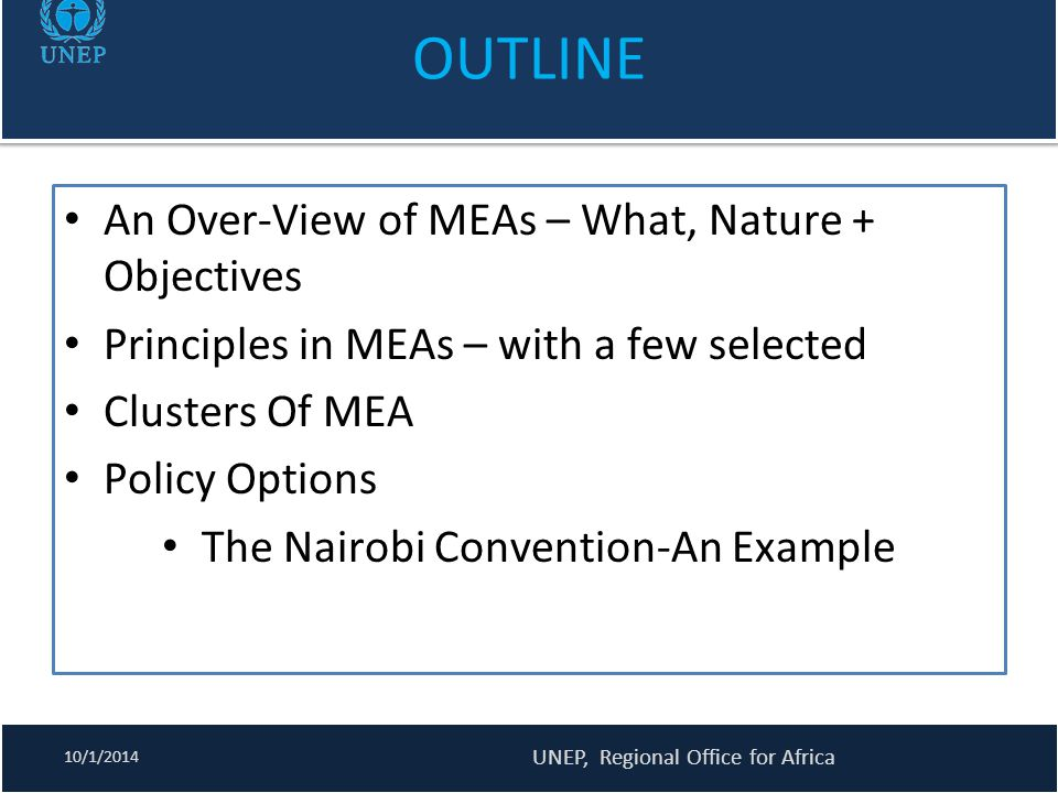 OUTLINE An Over-View of MEAs – What, Nature + Objectives
