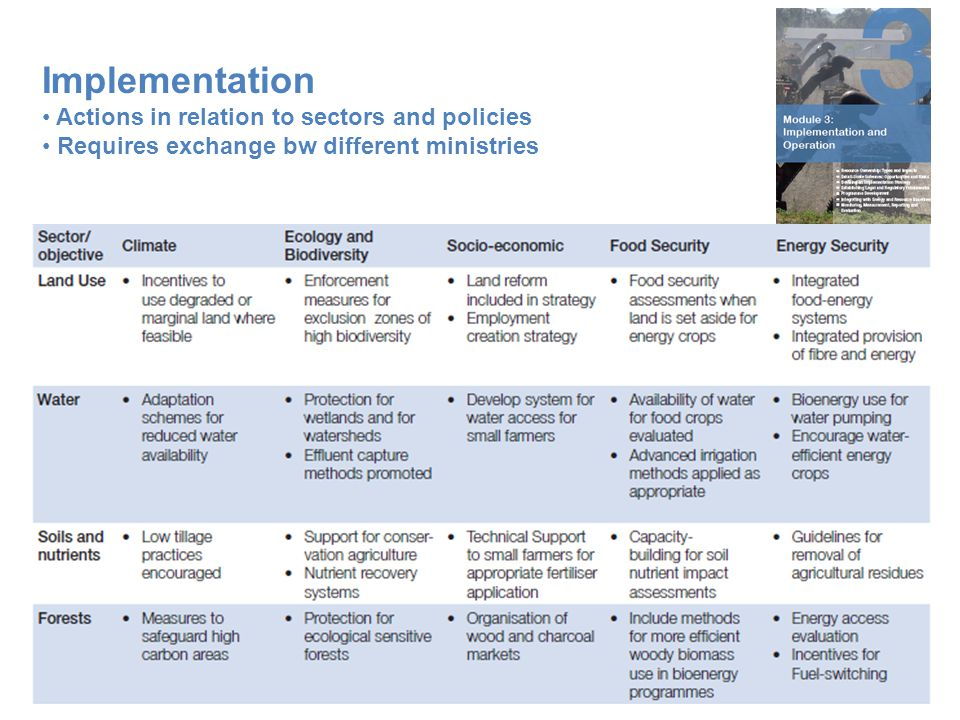 Implementation Actions in relation to sectors and policies