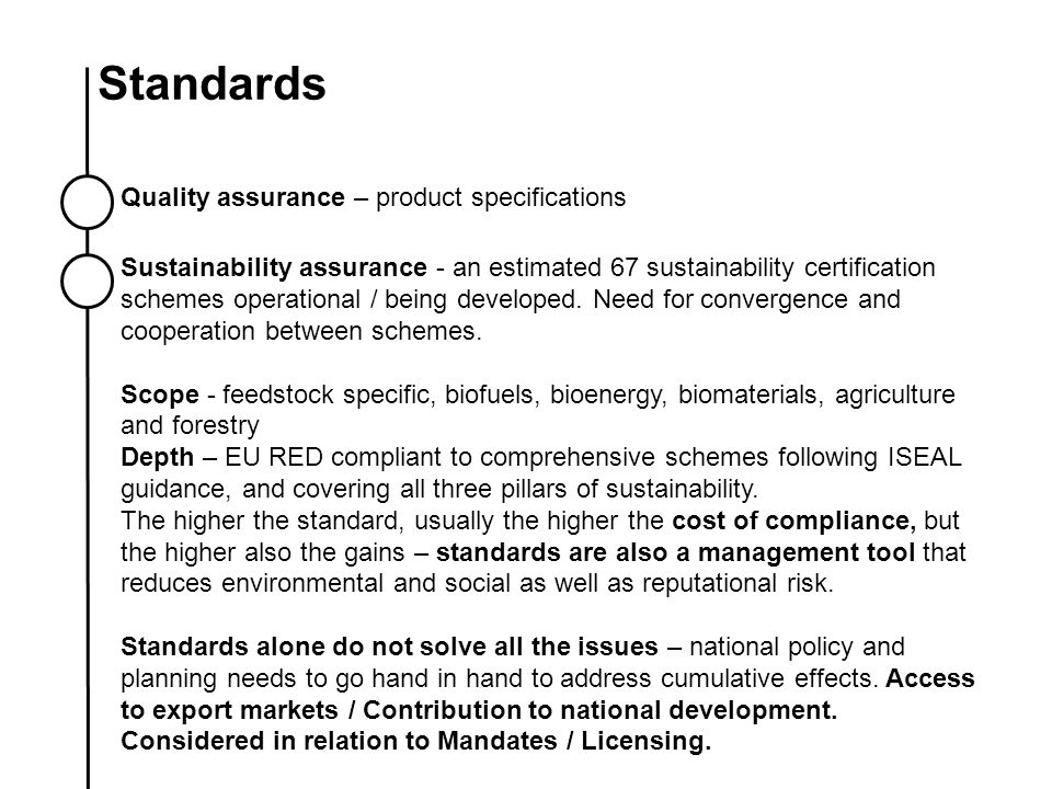 Standards Quality assurance – product specifications