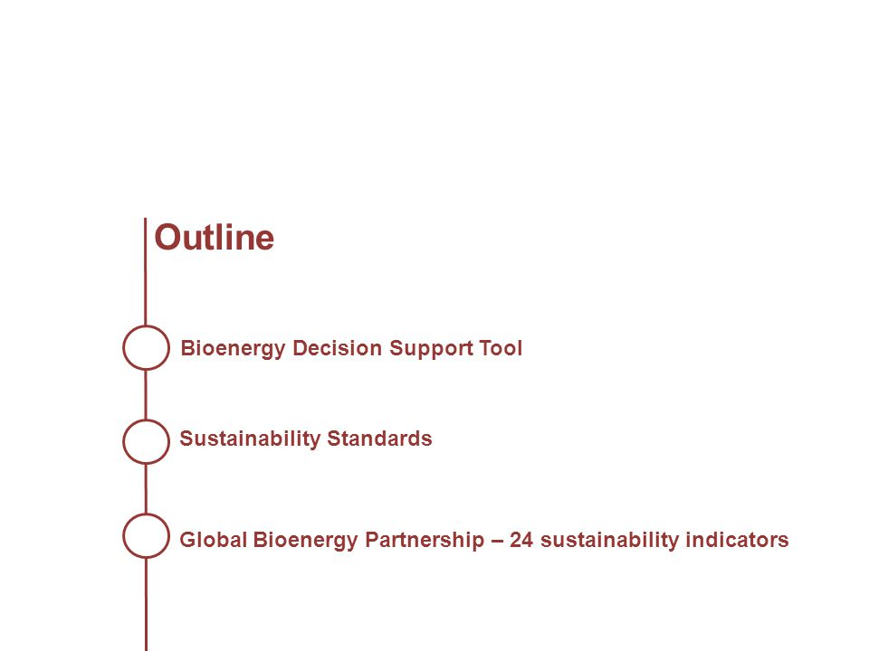 Outline Bioenergy Decision Support Tool Sustainability Standards