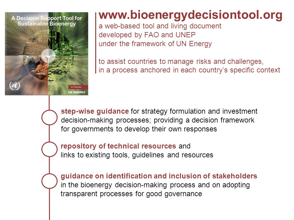 www.bioenergydecisiontool.org a web-based tool and living document