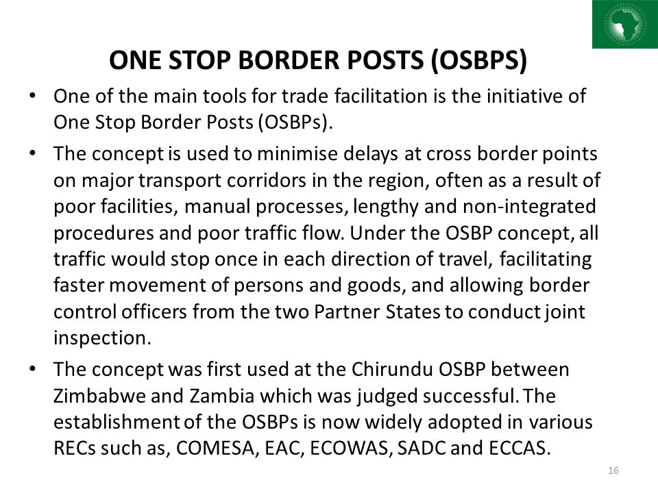 ONE STOP BORDER POSTS (OSBPS)