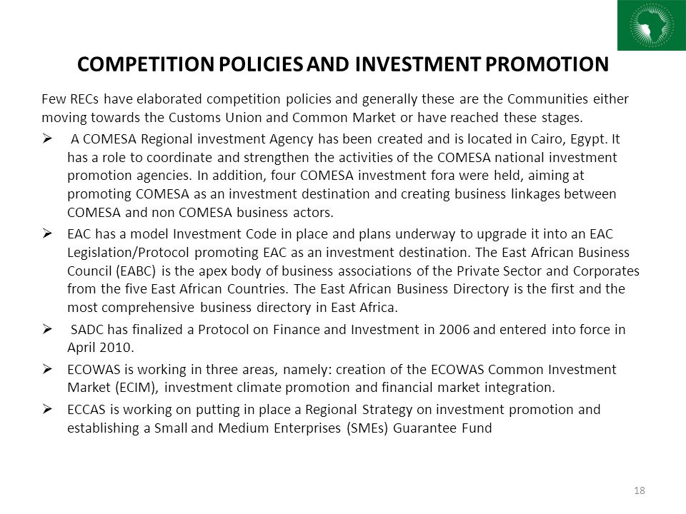 COMPETITION POLICIES AND INVESTMENT PROMOTION