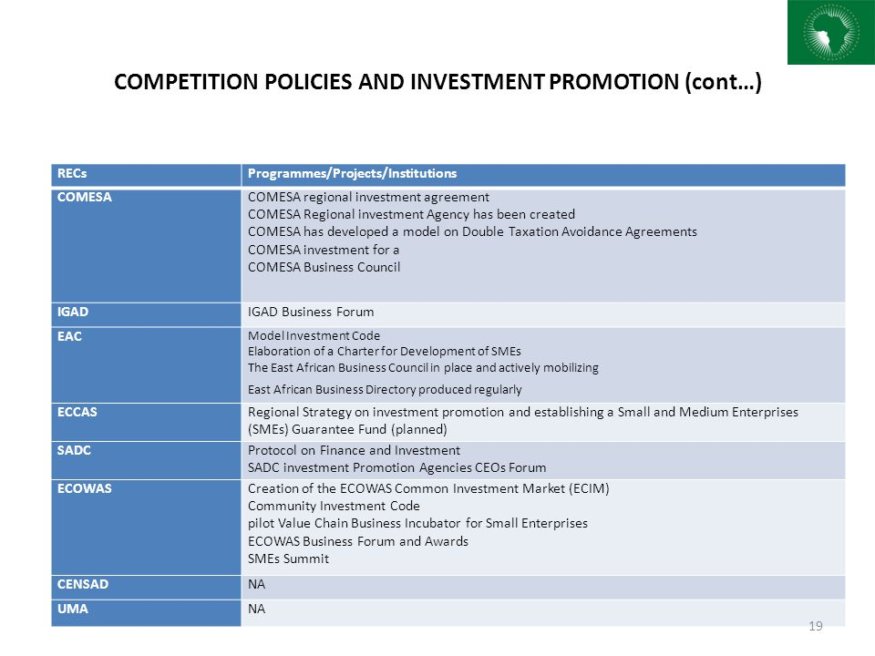 COMPETITION POLICIES AND INVESTMENT PROMOTION (cont…)