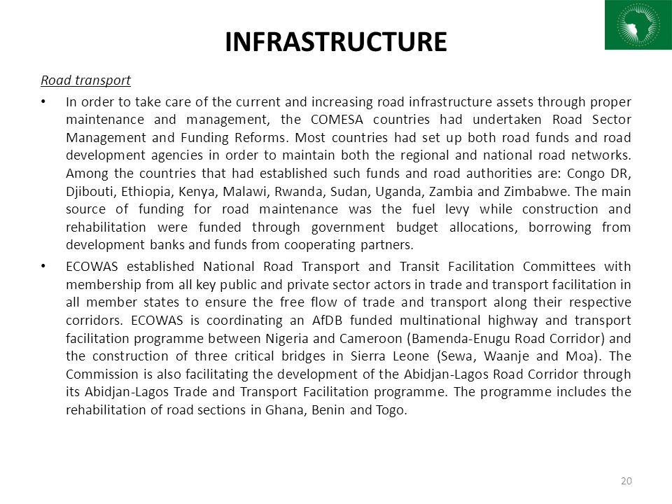 INFRASTRUCTURE Road transport