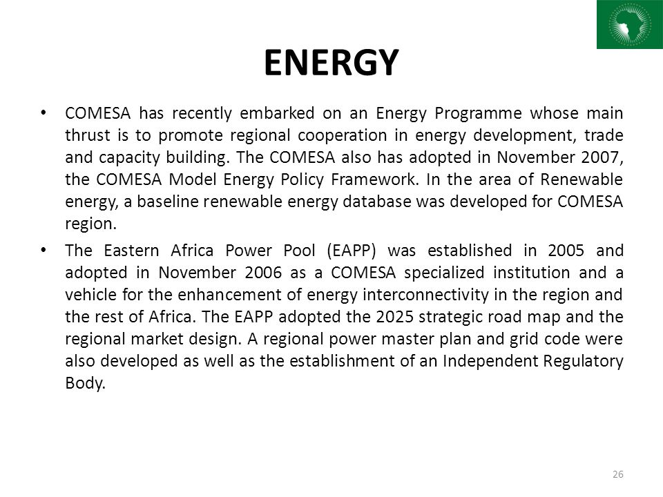 Status of integration in africa sia iv ppt download 26 energy sciox Images
