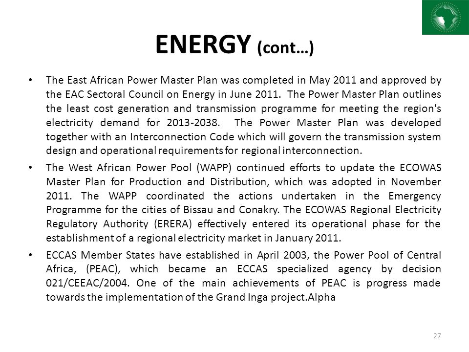 Status of integration in africa sia iv ppt download 27 energy cont the east african power sciox Images