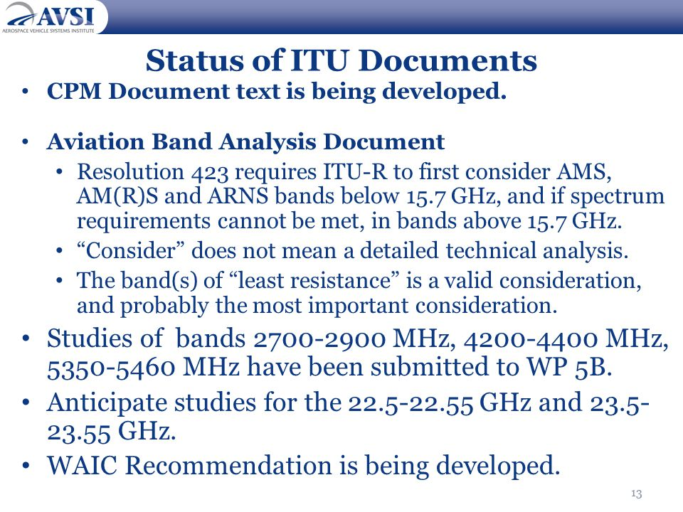 Status of ITU Documents