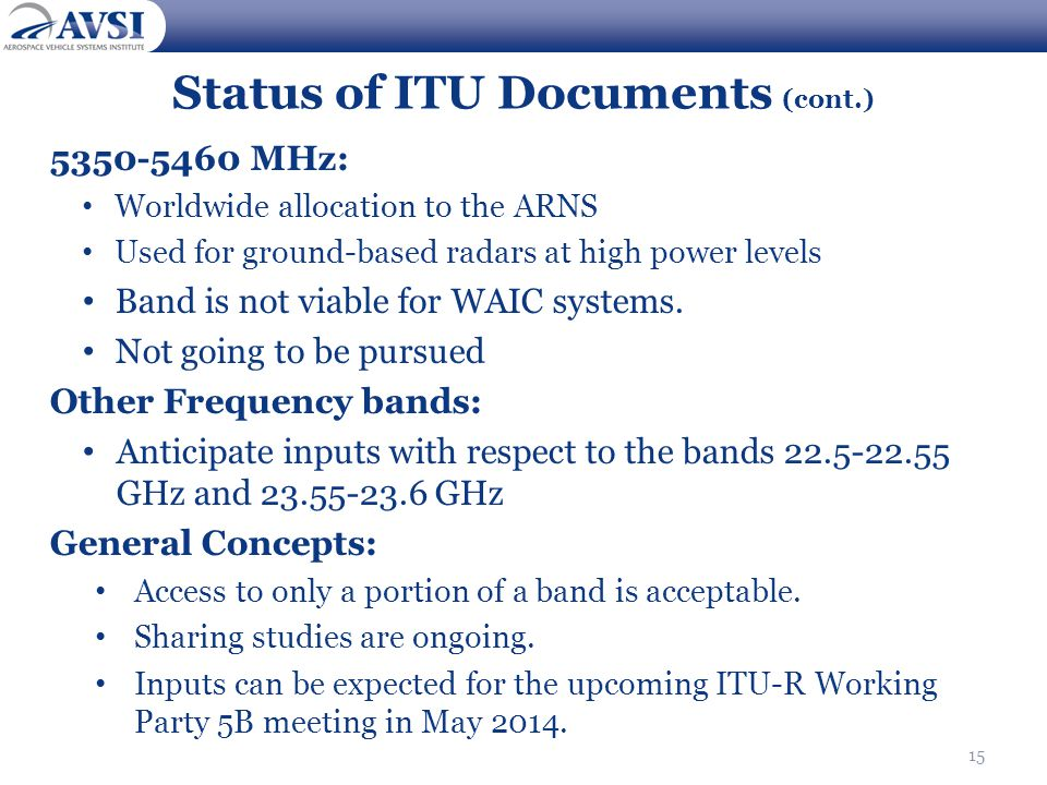 Status of ITU Documents (cont.)