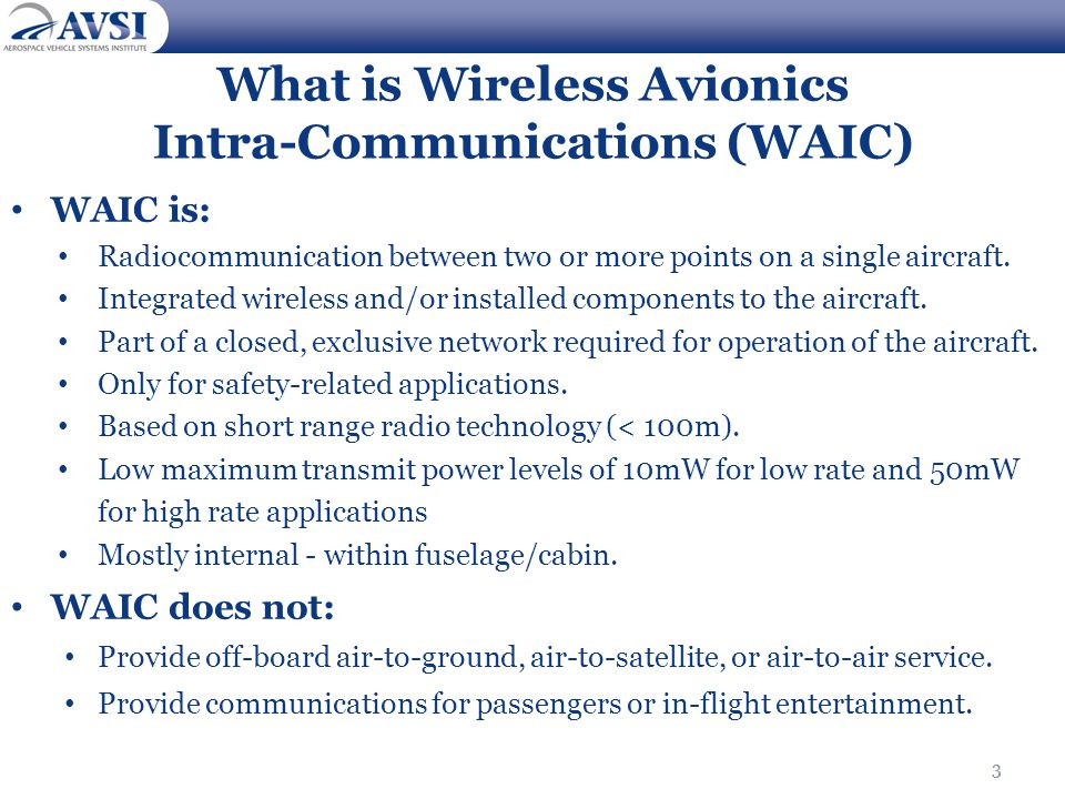 What is Wireless Avionics Intra-Communications (WAIC)