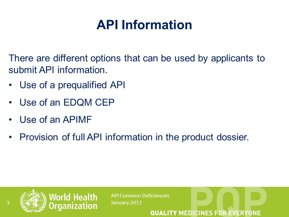 API Information There are different options that can be used by applicants to submit API information.
