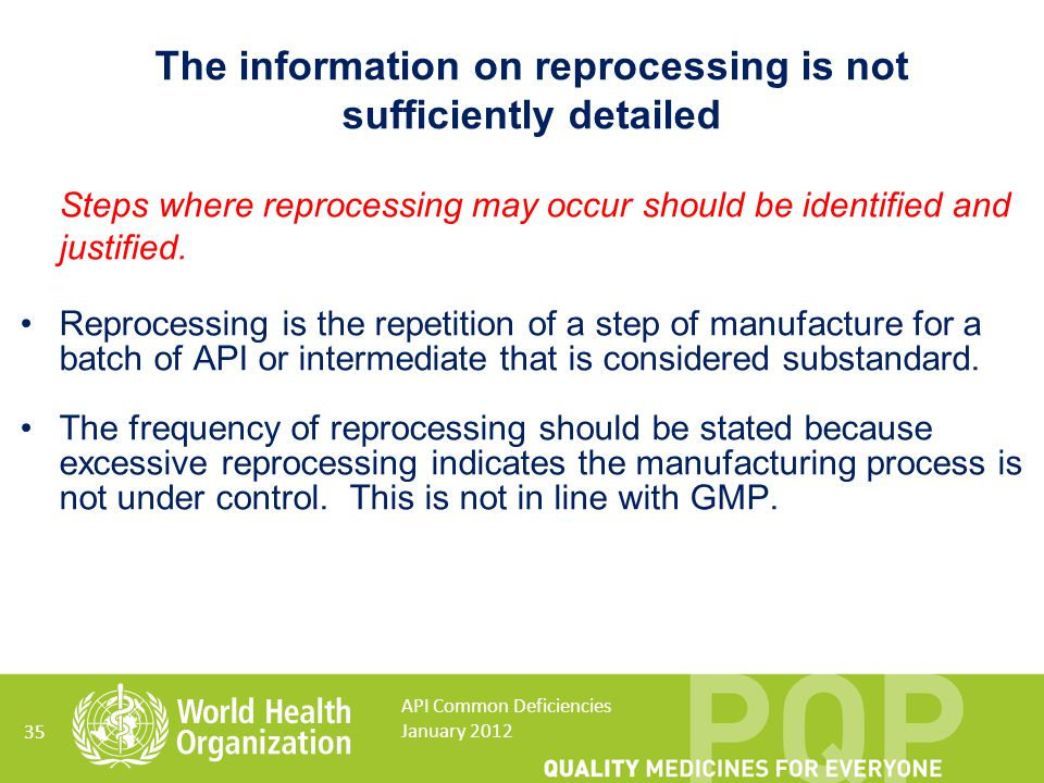 The information on reprocessing is not sufficiently detailed