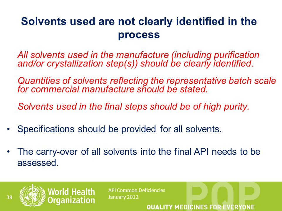 Solvents used are not clearly identified in the process