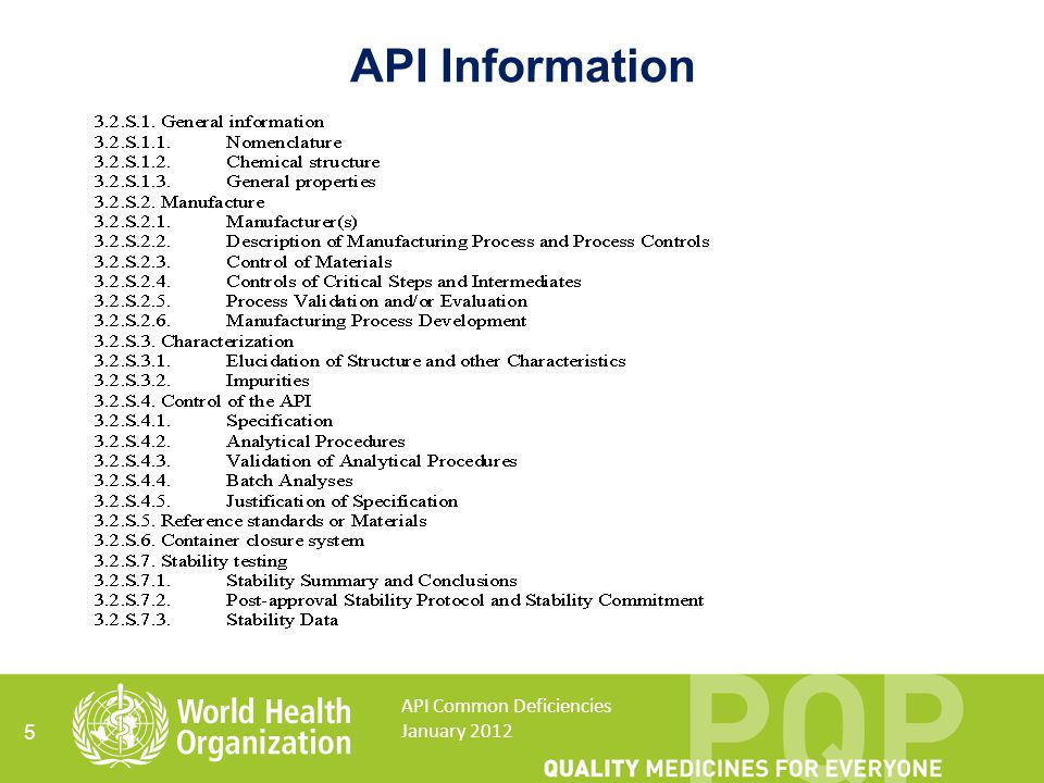 API Information API Common Deficiencies January 2012