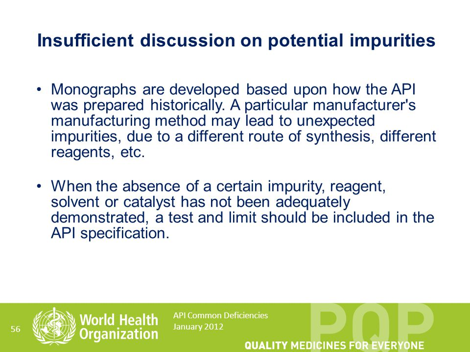 Insufficient discussion on potential impurities