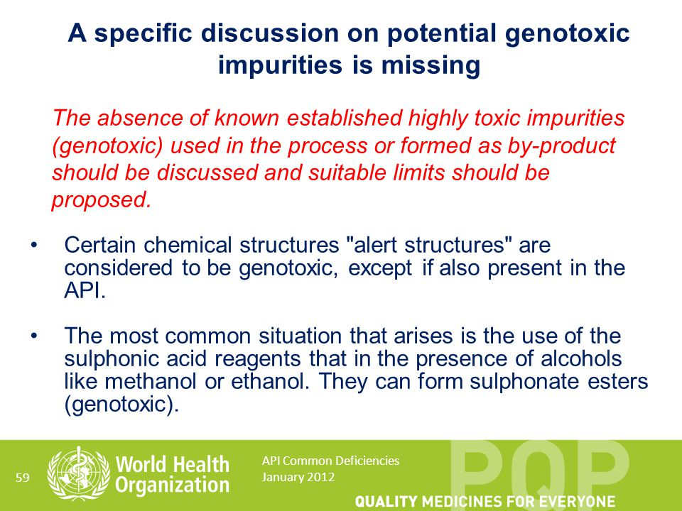 A specific discussion on potential genotoxic impurities is missing