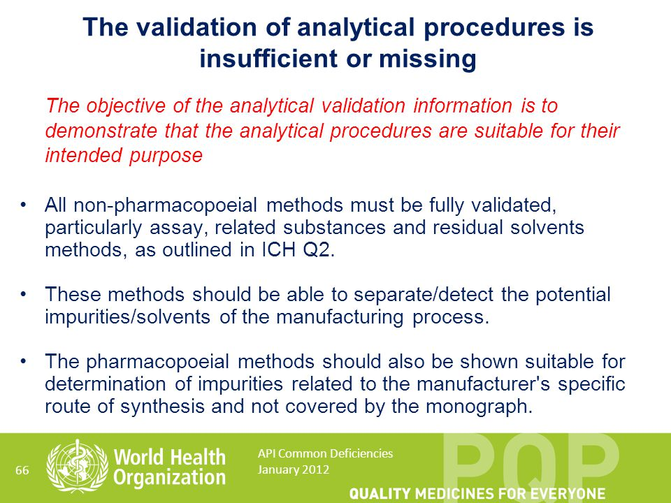 The validation of analytical procedures is insufficient or missing