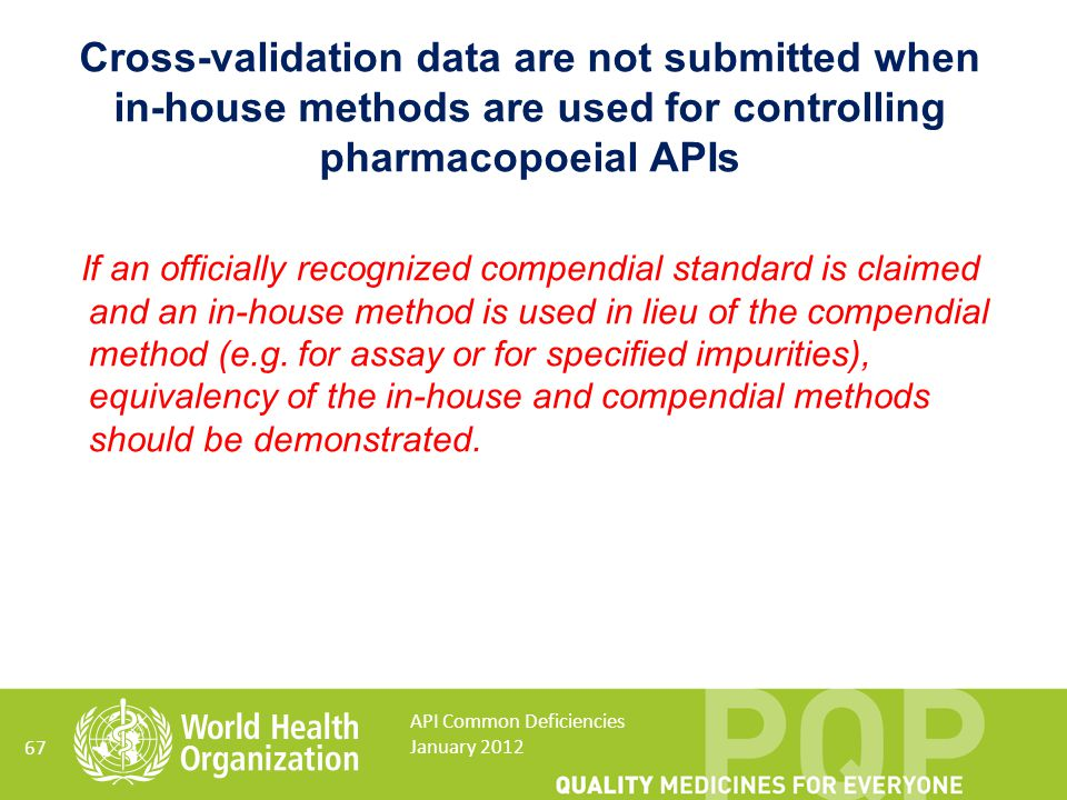 Cross-validation data are not submitted when in-house methods are used for controlling pharmacopoeial APIs