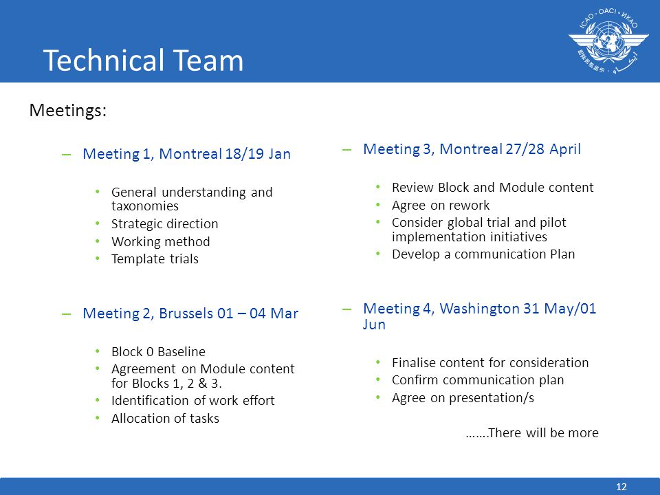 Technical Team Meetings: Meeting 3, Montreal 27/28 April