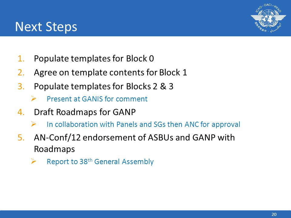 Next Steps Populate templates for Block 0