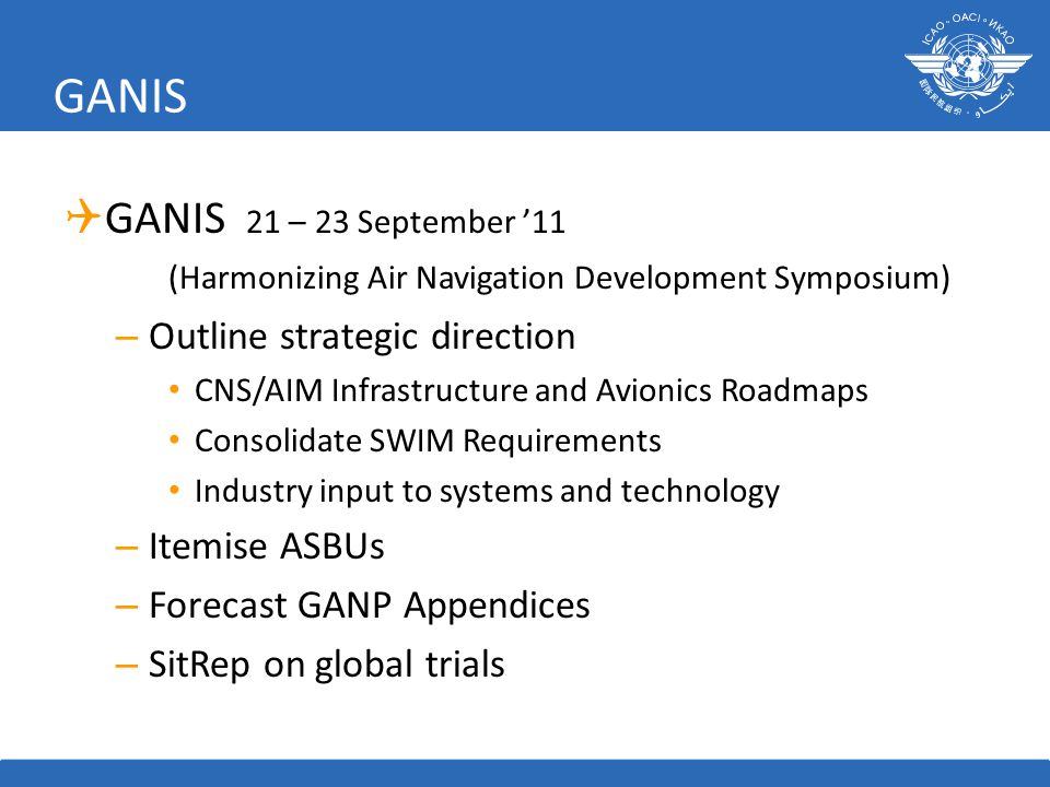 GANIS GANIS 21 – 23 September '11 (Harmonizing Air Navigation Development Symposium) Outline strategic direction.