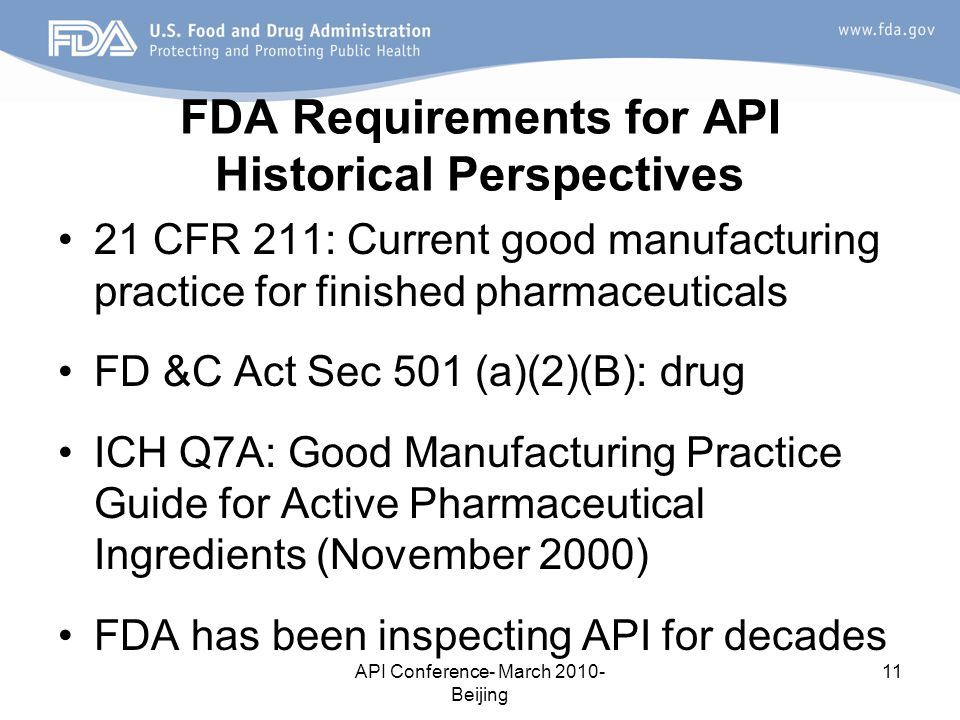 FDA Requirements for API Historical Perspectives