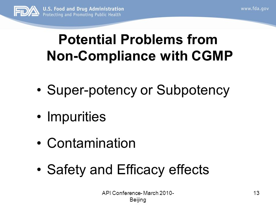 Potential Problems from Non-Compliance with CGMP