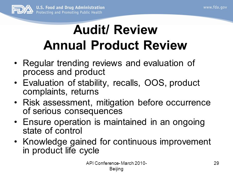 Audit/ Review Annual Product Review