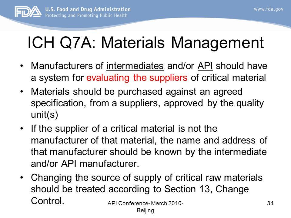 ICH Q7A: Materials Management