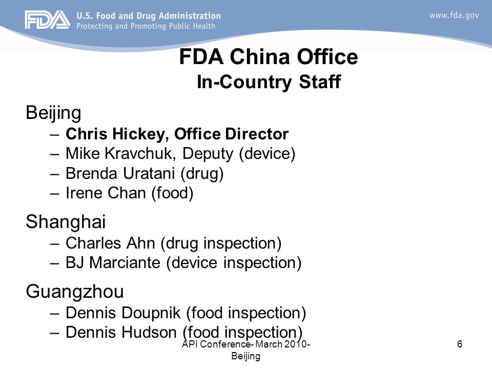 FDA China Office In-Country Staff