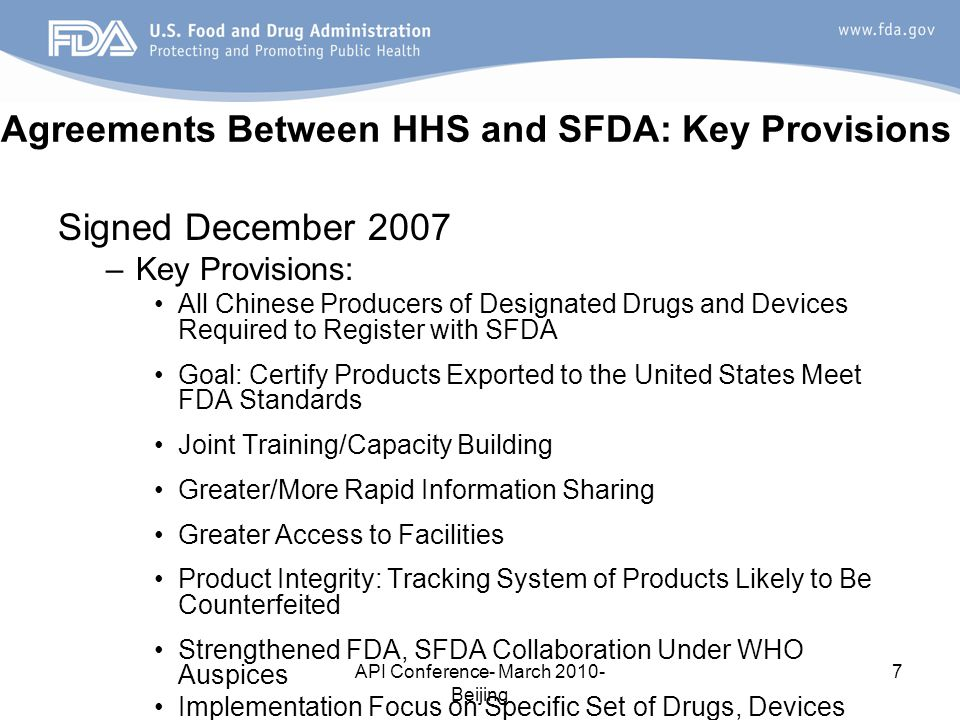 Agreements Between HHS and SFDA: Key Provisions
